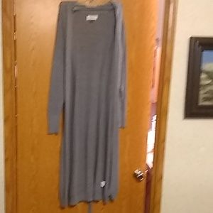 Long grey chrocet over sweater